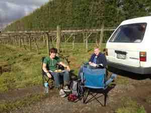 Mittagspause auf der Kiwi-Plantage