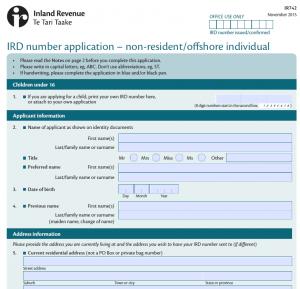 Das neue Formular zur Beantragung der IRD number muss per E-Mail oder Post an die Behörde gesendet werden